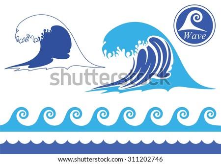 wave icon vector silhouette