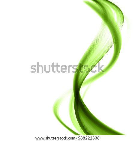 Wave ladies on a white background.Abstract design element.Undulating green lines of waves.