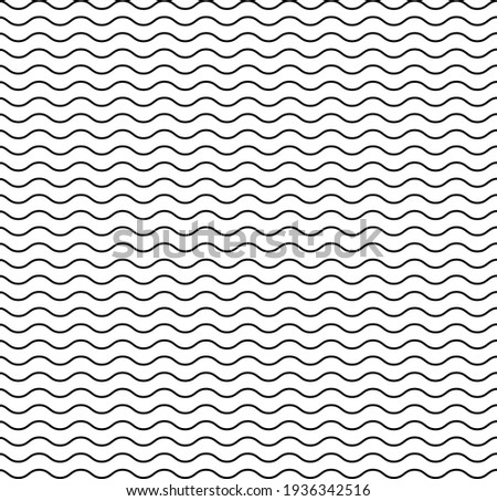 Wave line pattern. Seamless wavy texture. Background of water, sea, ocean and travel. Simple black graphic element on white background. Abstract wave pattern for art. Design of wallpaper. Vector. Foto stock ©