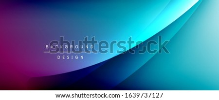 Wave liquid style lines with shadows and light on gradient background. Trendy simple fluid color gradient abstract background with dynamic straight shadow line effect. Vector Illustration For