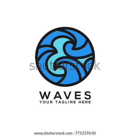 wave logo design template