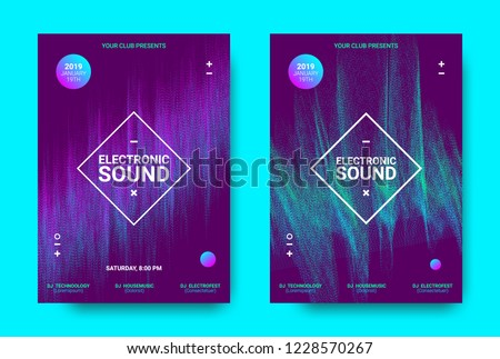 Wave Music Poster with Amplitude of Sound. Futuristic Flyer Concept for Electronic Event Promotion. Vector Equalizer with Distorted Rounds and Wave Dotted Lines. Movement of 3d Distorted Waves. #1228570267
