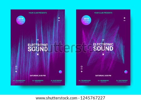 Wave Music Poster with Amplitude of Sound. Futuristic Flyer Concept for Electronic Event Promotion. Vector Equalizer with Distorted Rounds and Wave Dotted Lines. Movement of 3d Distorted Waves.