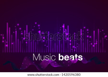 Wave Music Poster with Amplitude of Sound. Futuristic Flyer Concept for Electronic Event Promotion. Vector Equalizer