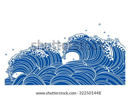 wave of blue japanese style
