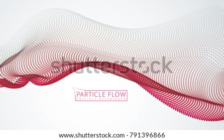 Wave of flowing particles over grey. Blurred dots vector abstract background. Beautiful wave shaped array of defocused circles.