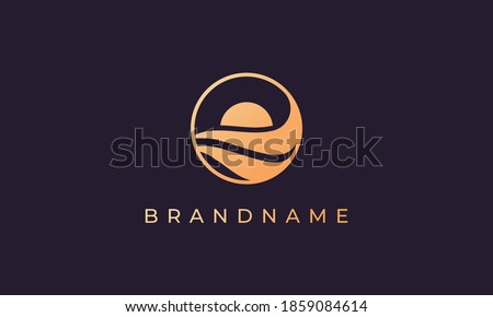 wave of ocean water and sun in the shape of abstract circle in gold are suitable for logo and icon