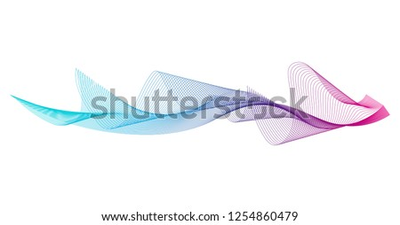 Wave of the many colored lines. Abstract wavy stripes on a white background isolated. Creative line art. Design elements created using the Blend Tool.  - Shutterstock ID 1254860479