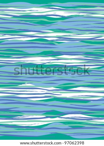Wave Pattern abstract seamless pattern in the colors of cool sea surf. Colors are grouped and on separate layers for easy editing.