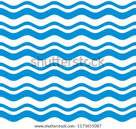 Wave Seamless Pattern Blue. Vector.