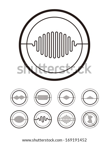 stock vector wave shaped pattern composed of lines abstract voice vector logo template set you can use in the 169191452 shutterstock mobile royalty free subscription stock photography on science abstract template
