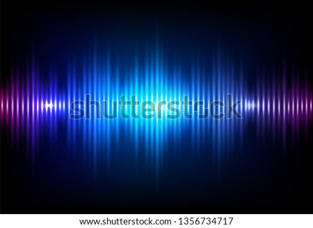 Wave sound neon vector background. Music flow soundwave design, light bright blue elements isolated on dark backdrop. Radio beat frequency consist of lines.