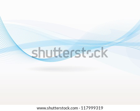 Wave with shadow.Abstract blue lines on a white background. Line art. Vector illustration. Colorful shiny wave with lines created using blend tool. Curved wavy line,smooth stripe.Design element.