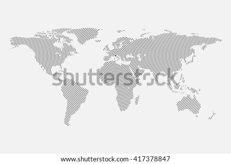 Wave world map vector. Clean Gray wave world map isolated on white background. Centric circles. Modern trendy Vector template for website, design, cover, infographics. Graph illustration.
