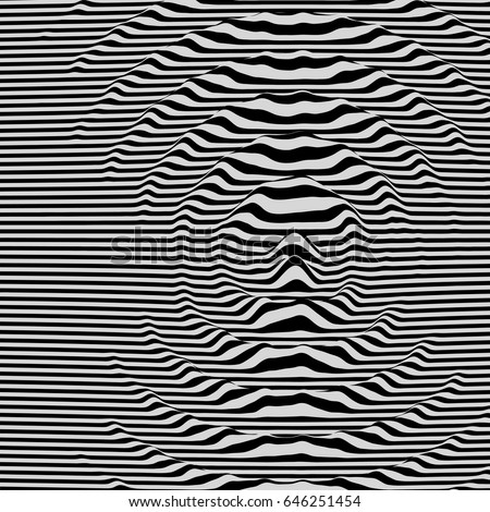 Waveform background. Dynamic visual effect. Surface distortion. Pattern with optical illusion. Vector striped illustration. Black and white sound waves.