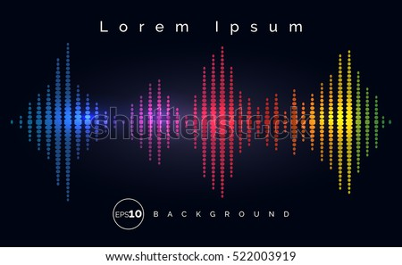 Waveform stereo equalizer poster. Music track wave background. Vector illustration