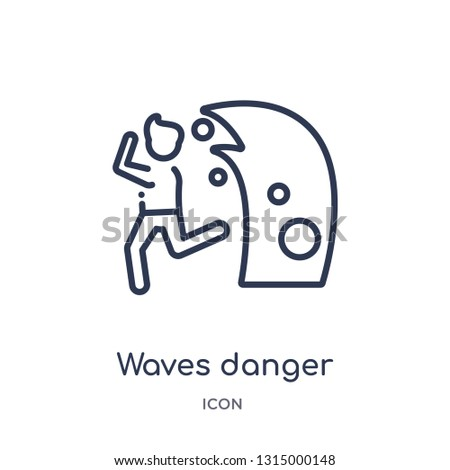 waves danger icon from people outline collection. Thin line waves danger icon isolated on white background.