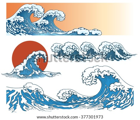 waves in japanese style sea