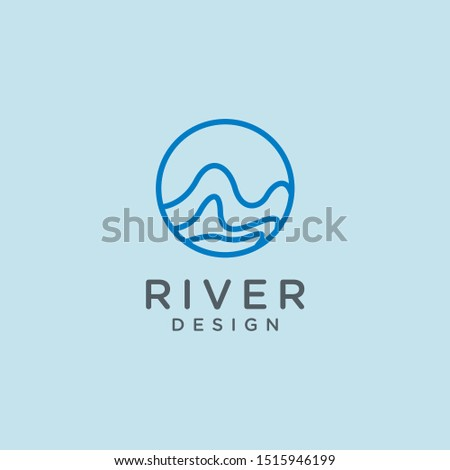 Waves logo design. Vector linear round icon of water. Minimal emblem for business emblems, badge.