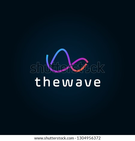 Waves logo template. Abstract linear logotype. Wave flow symbol. Motion stream water aqua vector icon. Minimal emblem for business emblems