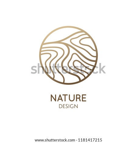 Waves logo template. Vector linear round icon of water or desert landscape with barkhans. Minimal emblem for business emblems, badge for a travel, tourism and ecology concepts, health and yoga Center.