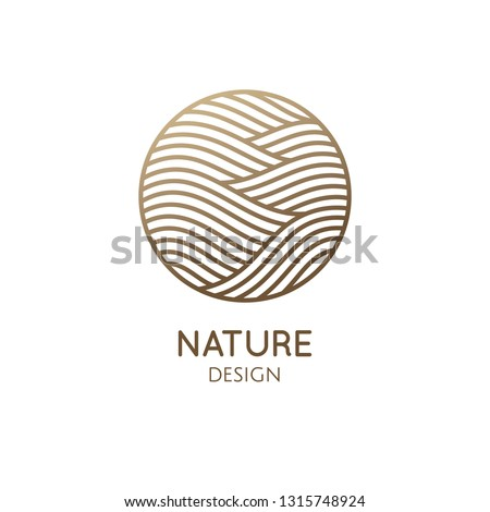 Waves logo template. Vector round icon of water or desert landscape with barkhans. Abstract ornamental emblem for business emblem, badge for a travel, tourism and ecology concepts, health, yoga Center