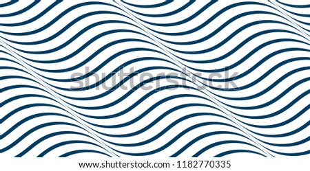 Waves seamless pattern, vector water runny curve lines abstract repeat endless background, blue colored rhythmic waves.