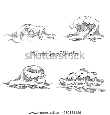 Waves. Set of sketches black and white. Vector Illustration