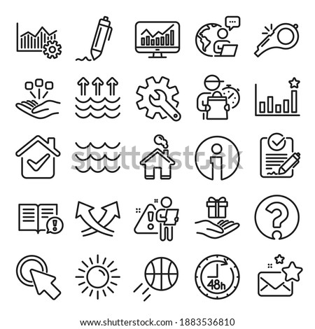 Waves, sun, efficacy line icons. Customisation, Global warming, Question mark icons. Signature Rfp, Information, Efficacy. Waves, Consolidation, Operational excellence. Question mark, whistle. Vector Foto d'archivio ©