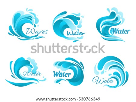 Waves vector isolated icons. Ocean water wave blue symbols in form of splashes, tide water rollers, stormy curling sea waves, foamy stormy curls, wavy flows with surfing gales.