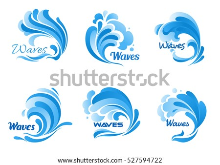 waves vector isolated icons