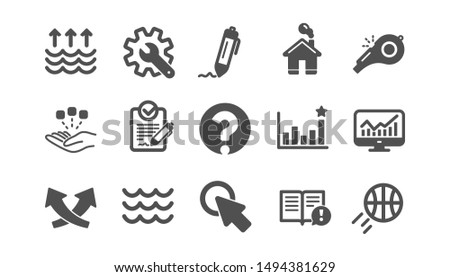 Waves, Whistle and Global warming icons. Signature, Analytics and Question mark. Classic icon set. Quality set. Vector