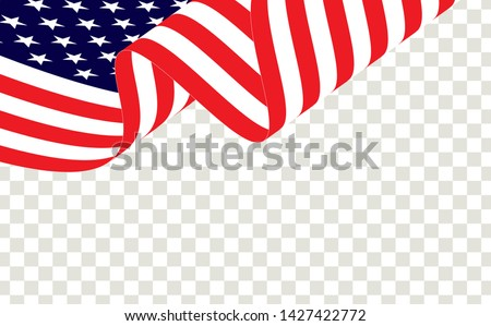 Waving american flag of the united states of america or USA. Waving American flag isolated on transparent background, vector. #1427422772