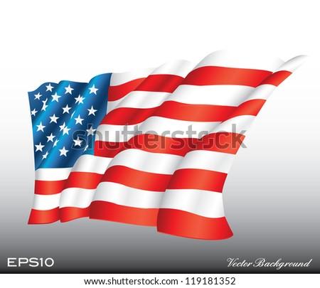 waving american us flag vector illustration - stock vector