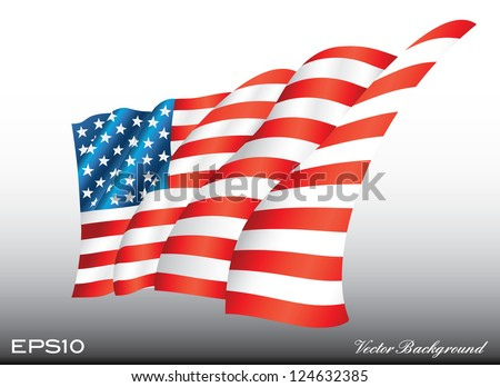 waving american us flag vector illustration
