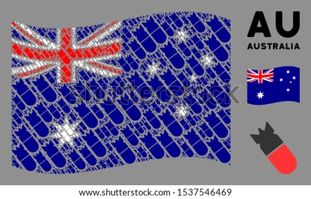 waving australia flag vector