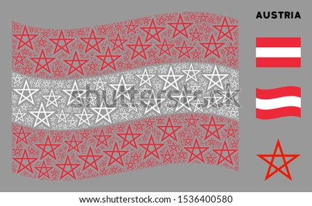 Waving Austrian official flag. Vector star pentagram design elements are united into mosaic Austrian flag composition. Patriotic composition composed of flat star pentagram design elements.