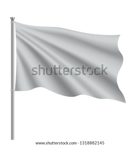 Waving blank flag on flagpole. Template for poster design #1318882145