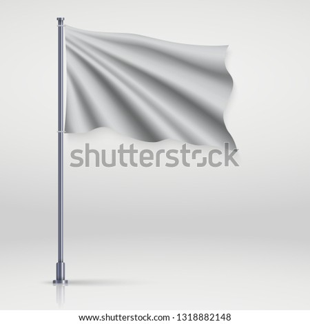 Waving blank flag on flagpole. Template for poster design #1318882148