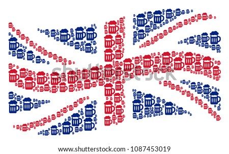 Waving British flag collage made of beer glass design elements. Vector beer glass icons are organized into conceptual UK flag composition.