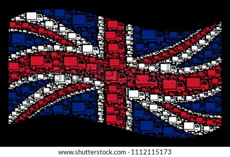 Waving British state flag on a black background. Vector delivery lorry pictograms are combined into geometric English flag abstraction. Patriotic composition constructed of delivery lorry pictograms.