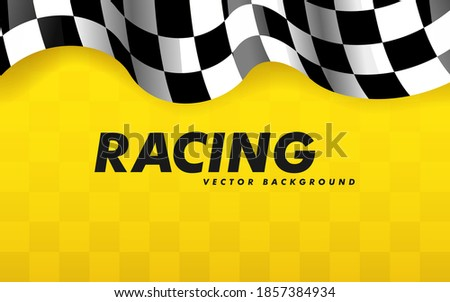 Waving checkered flag along the edges on a yellow background. Modern illustration. Racing flag. Banner for a sports club or racing competition.