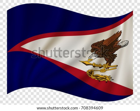 Waving Flag of American Samoa is a territory of USA. Vector illustration