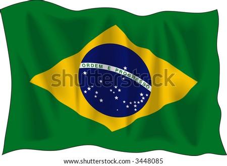 Waving flag of Brazil isolated on white