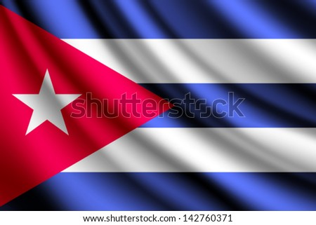 Waving flag of Cuba, vector