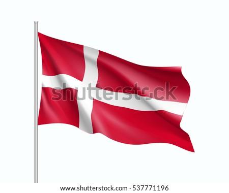 waving flag of denmark state