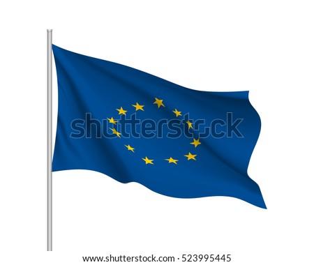 waving flag of european union