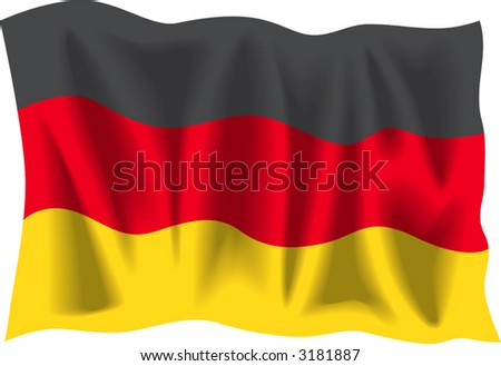 stock vector : Waving flag of Germany isolated on white