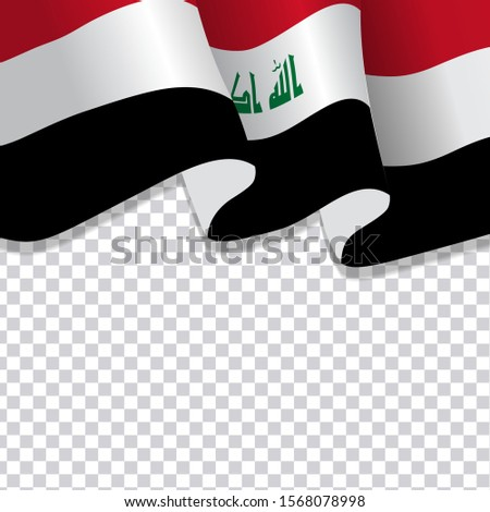 waving flag of Iraq. illustration of wavy Iraq Flag for Independence Day. Iraq Flag Flowing. Iraq flag on transparent background