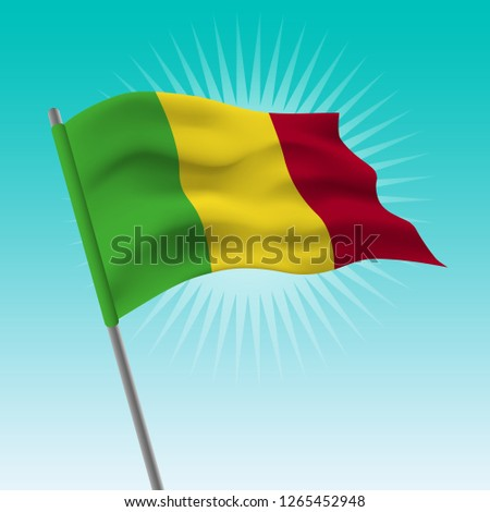 Waving flag of Mali. Vector drawing illustration of flag.